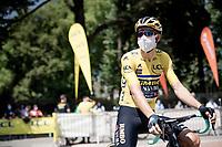 yellow jersey / GC leader Wout van Aert (BEL/Jumbo - Visma) at the race start in Vienne<br /> <br /> Stage 2: Vienne to Col de Porte (135km)<br /> 72st Critérium du Dauphiné 2020 (2.UWT)<br /> <br /> ©kramon