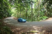 Car driving on rainforest road in Daintree National Park, Queensland, Australia
