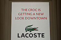 A Lacoste store is pictured in New York City, NY Thursday August 4, 2011. Lacoste is a French apparel company founded in 1933 that sells high-end clothing, footwear, perfume, leather goods, watches, eyewear, and most famously tennis shirts.