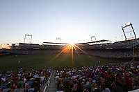 A general view of TD Ameritrade Park during Game 6 of the 2013 Men's College World Series between the Indiana Hoosiers and Mississippi State Bulldogs at TD Ameritrade Park on June 17, 2013 in Omaha, Nebraska. (Brace Hemmelgarn/Four Seam Images)
