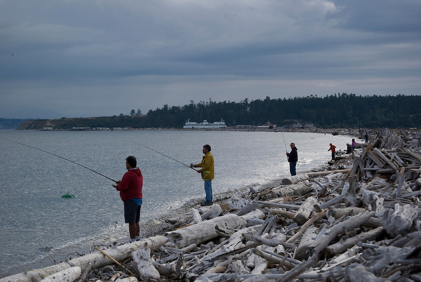 shoreline fishing for pink salmon on whidbey island