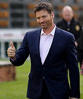 LOUISVILLE, KY - MAY 06: Harry Connick Jr. gives a thumbs up to the crowd before singing the national anthem on Kentucky Derby Day at Churchill Downs on May 6, 2017 in Louisville, Kentucky. (Photo by Candice Chavez/Eclipse Sportswire/Getty Images)