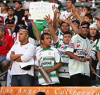 Laguna Santos fanaticos. Santos Laguna vs Chivas USA during the 1st round of the 2008 SuperLiga at Home Depot Center stadium, in Carson, California on Wednesday, July 16, 2008.