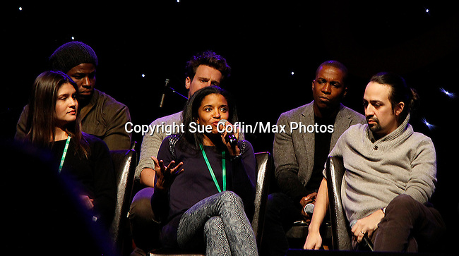 "One Life To Live Renee Elise Goldsberry who stars in Broadway's ""Hamilton - The Musical"" with Lin-Manuel Miranda (2nd R) and cas Phillipa Soo, Oktieriete Onadawan, Jonathan Groff, Leslie Odom, Jr. - all attending the first ever 3-day Broadway Con on January 22 - 24, 2016 at the Hilton Hotel, New York City, New York.  (Photo by Sue Coflin/Max Photos)"
