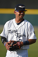 Lakeland Flying Tigers second baseman Javier Betancourt (7) during warmups before a game against the Tampa Yankees on April 9, 2015 at Joker Marchant Stadium in Lakeland, Florida.  Tampa defeated Lakeland 2-0.  (Mike Janes/Four Seam Images)