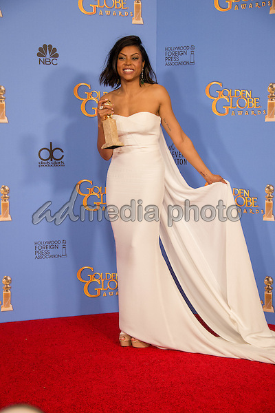 "After winning the category of BEST PERFORMANCE BY AN ACTRESS IN A TELEVISION SERIES – DRAMA for her role in ""Empire,"" actress Taraji Henson poses backstage in the press room with her Golden Globe Award at the 73rd Annual Golden Globe Awards at the Beverly Hilton in Beverly Hills, CA on Sunday, January 10, 2016. Photo Credit: HFPA/AdMedia"