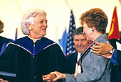 First lady Barbara Bush, left, and Raisa Gorbachev, wife of President Mikhail Gorbachev of the Soviet Union, right, attend the graduation ceremony at Wellesley College in Wellesley, Massachusetts on June 1, 1990. <br /> Credit: Rob Crandall / Pool via CNP