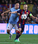 11.03.2015 Barcelona.UEFA champions League. Rounf 0f 16 2nd leg. Picture show Andres INiesta durring game between FC Barcelona against Manchester city at Camp Nou