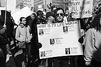 Washington, DC - March 24, 2018: A young man holds a sign as hundreds of thousands of people gather in Washington, DC for the national March for Our Lives Rally, March 24, 2018.  (Photo by Don Baxter/Media Images International)