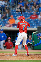 Clearwater Threshers shortstop Arquimedes Gamboa (7) at bat during a game against the Dunedin Blue Jays on April 6, 2018 at Spectrum Field in Clearwater, Florida.  Clearwater defeated Dunedin 8-0.  (Mike Janes/Four Seam Images)