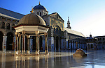Damascus, Syria. The Courtyard of Umayyad Mosque, view towards the facade of the prayer hall. The Umayyad Mosque located in the old city of Damascus, is one of the largest and oldest mosques in the world, considered the fourth-holiest place in Islam.