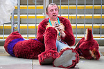 © Joel Goodman - 07973 332324. 30/07/2017 . Manchester , UK . A performer takes a break from his sweaty costume . Cosplayers, families and guests at Comic Con at the Manchester Central Convention Centre . Photo credit : Joel Goodman