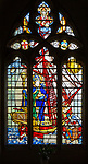 Stained glass window of Saint Nicholas standing in ship by Martin Travers 1927 Cricklade church, Wiltshire, England, UK