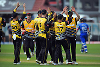the Firebirds celebrate the dismissal of Mark Chapman during the Dream11 Super Smash cricket final between the Wellington Firebirds and Auckland Aces at Basin Reserve in Wellington, New Zealand on Sunday, 19 January 2020. Photo: Dave Lintott / lintottphoto.co.nz