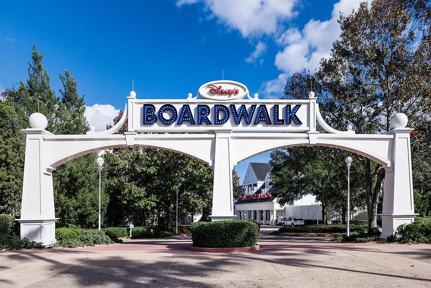 Entrance to Disney's Boardwalk resort, Orlando, Florida, USA.