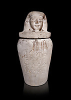 Ancient Egyptian Imesty or Amset Canopic Jar,  New Kingdom,  Egyptian Museum, Turin. Black background<br /> <br /> The canopic jars were four in number, each for the safekeeping of particular human organs: the stomach, intestines, lungs, and liver, all of which, it was believed, would be needed in the afterlife. Imsety, the human-headed god representing the South, whose jar contained the liver and was protected by the goddess Isis.