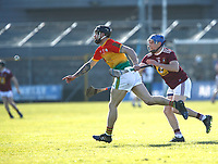 8th March 2020; TEG Cusack Park, Mullingar, Westmeath, Ireland; Allianz League Division 1 Hurling, Westmeath versus Carlow; Ross Smithers (Carlow) gets away from Joey Boyle (Westmeath)
