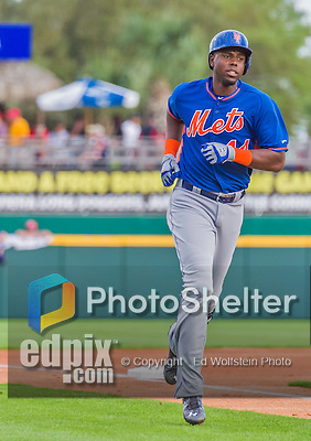 5 March 2015: New York Mets outfielder John Mayberry Jr. rounds third after hitting a solo home run in the second inning against the Washington Nationals at Space Coast Stadium in Viera, Florida. The Mets fell to the Nationals after a late inning rally, dropping a 5-4 Grapefruit League game. Mandatory Credit: Ed Wolfstein Photo *** RAW (NEF) Image File Available ***