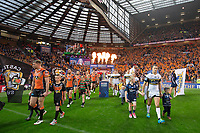 Picture by Alex Whitehead/SWpix.com - 07/10/2017 - Rugby League - Betfred Super League Grand Final - Castleford Tigers v Leeds Rhinos - Old Trafford, Manchester, England - Leeds captain Danny McGuire and Castleford captain Michael Shenton leads their sides out.