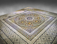 Roman mosaics - Geometric Mosaic. Dionysus Villa Ancient Zeugama, 2nd - 3rd century AD . Zeugma Mosaic Museum, Gaziantep, Turkey.  Against a grey background.