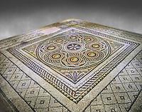 Roman mosaics - Geometric Mosaic. Dionysus Villa Ancient Zeugama, 2nd - 3rd century AD . Zeugma Mosaic Museum, Gaziantep, Turkey.  Against a grey background.