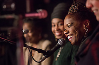 Natalie Bullock Brown moderates a roundtable discussion with Nnena Freelon, Jazzmeia Horn, Catherine Russell, and Kate McGarry during the Duke Performances In The Jazz Tradition series at The Pinhook in Durham, North Carolina, Friday, December 7, 2018  (Justin Cook)