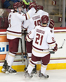 Connor Moore (BC - 7), Matthew Gaudreau (BC - 21), Ryan Fitzgerald (BC - 19), Austin Cangelosi (BC - 9) - The visiting Merrimack College Warriors defeated the Boston College Eagles 6 - 3 (EN) on Friday, February 10, 2017, at Kelley Rink in Conte Forum in Chestnut Hill, Massachusetts.