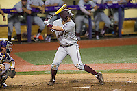Texas A&M Aggies first baseman Hunter Melton (50) at bat during a Southeastern Conference baseball game against the LSU Tigers on April 23, 2015 at Alex Box Stadium in Baton Rouge, Louisiana. LSU defeated Texas A&M 4-3. (Andrew Woolley/Four Seam Images)