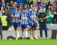 Aaron Connolly of Brighton and Hove Albion middle celebrates scoring the third and his second goal during Brighton & Hove Albion vs Tottenham Hotspur, Premier League Football at the American Express Community Stadium on 5th October 2019