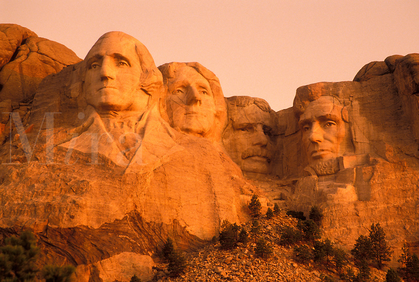 Mount Rushmore National Memorial, SD, South Dakota, Mt. Rushmore, Black Hills, Mount Rushmore Nat'l Memorial at sunrise.