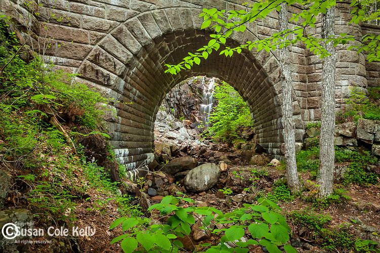 The Waterfall Bridge near Hadlock Pond in Acadia National Park, Maine, USA
