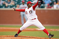 Chattanooga starting pitcher Johnny Cueto (40) in action versus Mississippi at AT&T Field in Chattanooga, TN, Wednesday, July 26, 2007.