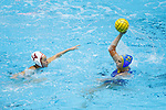 INDIANAPOLIS, IN - MAY 14: Cassidy Papa (14) of Stanford University defends against Bronte Halligan (25) of UCLA during the Division I Women's Water Polo Championship held at the IU Natatorium-IUPUI Campus on May 14, 2017 in Indianapolis, Indiana. (Photo by Joe Robbins/NCAA Photos/NCAA Photos via Getty Images)