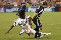Los Angeles Galaxy defender Ugo Ihemelu (15) traps the ball against DC United midfielder Domenic Mediate (6). Los Angeles Galaxy defeated DC United 5-2, Saturday, August 26, 2006 at RFK Stadium.