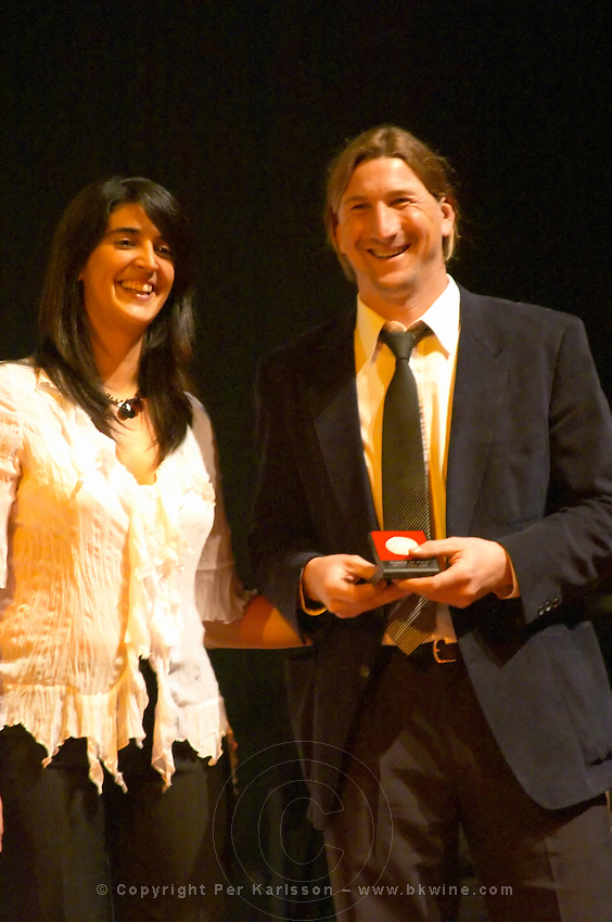 Pablo Fallabrino, winemaker at Bodega Fallabrino Hnos Hermanos winery, collecting the Uruguay Cata d'Or prize medal Catad'Or of Uruguay, Montevideo, Uruguay, South America