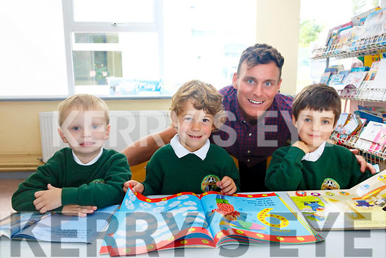 Three new Juniors started school in Coars NS on Wednesday pictured here l-r; Sean O'Sullivan, Ernesto Moral-Blanco, Coda Walsh and teacher Paul O'Connor.