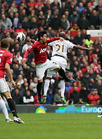 Pictured: (R-L) Dwight Tiendalli, Shinji Kagawa.<br /> Sunday 12 May 2013<br /> Re: Barclay's Premier League, Manchester City FC v Swansea City FC at the Old Trafford Stadium, Manchester.