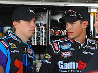 May 30, 2008; Dover, DE, USA; Nascar Nationwide Series driver Joey Logano (right) talks with Denny Hamlin during practice for the Heluva Good 200 at the Dover International Speedway. Mandatory Credit: Mark J. Rebilas-US PRESSWIRE