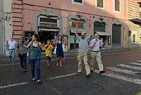 Roma, 29 Agosto 2018<br /> Cittadine e cittadine antirazziste con le mani tinte di rosso a simboleggiare il sangue dei migranti morti in mare, protestano al Viminale contro le politiche sull'immigrazione del Governo e del Ministro Salvini