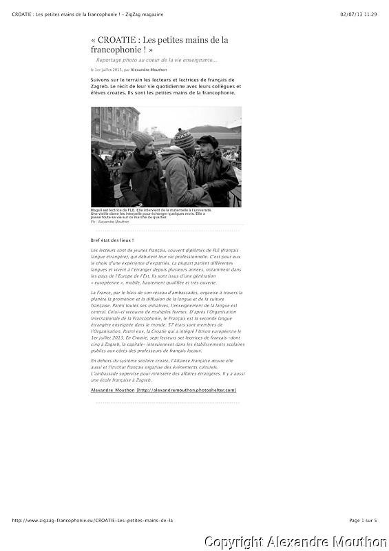 Lien vers le photo reportage dans le magazine ZigZag:<br /> <br /> http://www.zigzag-francophonie.eu/CROATIE-Les-petites-mains-de-la