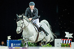 Roger-Yves Bost of France riding on Pegase du Murier competes during the EEM Trophy, part of the Longines Masters of Hong Kong on 10 February 2017 at the Asia World Expo in Hong Kong, China. Photo by Juan Serrano / Power Sport Images