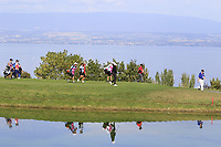 Golfers walk to the 5th green during Thursday's Round 1 of The Evian Championship 2018, held at the Evian Resort Golf Club, Evian-les-Bains, France. 13th September 2018.<br /> Picture: Eoin Clarke | Golffile<br /> <br /> <br /> All photos usage must carry mandatory copyright credit (&copy; Golffile | Eoin Clarke)
