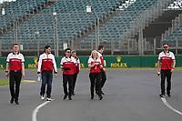 11th March 2020; Albert Park, Melbourne, Australia; Formula 1 Australia Grand Prix, setup day; Alfa Romeo Racing Orlen, Antonio Giovinazzi walks the track
