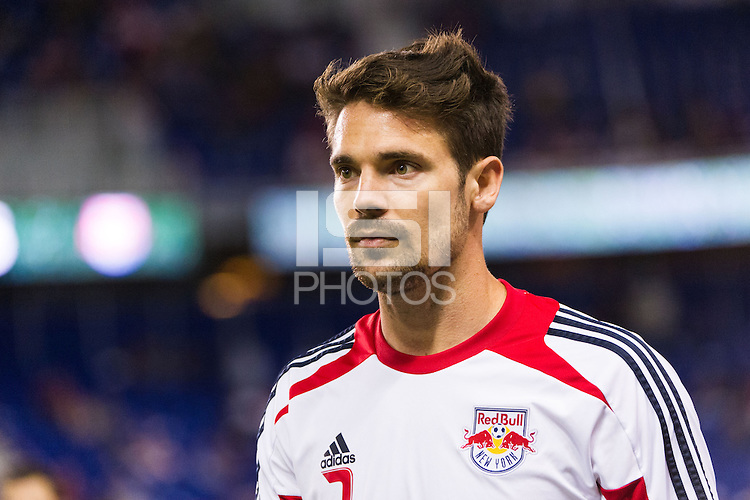 Heath Pearce (3) of the New York Red Bulls prior to playing Toronto FC. The New York Red Bulls defeated Toronto FC 4-1 during a Major League Soccer (MLS) match at Red Bull Arena in Harrison, NJ, on September 29, 2012.