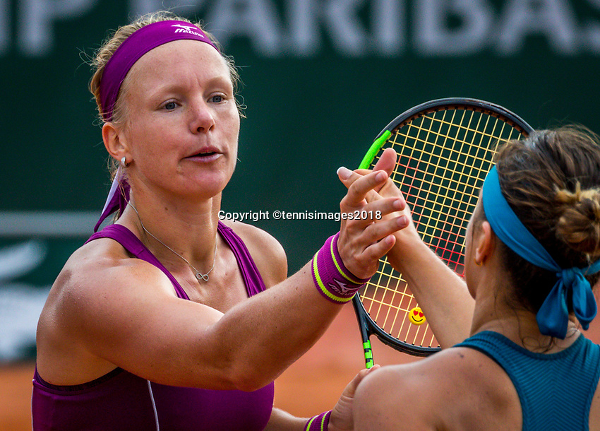 Paris, France, 29 May, 2018, Tennis, French Open, Roland Garros, Kiki Bertens (NED) gets congratulated by Aryna Sabalenka (BLR)<br /> Photo: Henk Koster/tennisimages.com