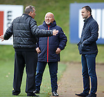 Frank McParland, Rangers head of player recruitment chatting with Jimmy Calderwood
