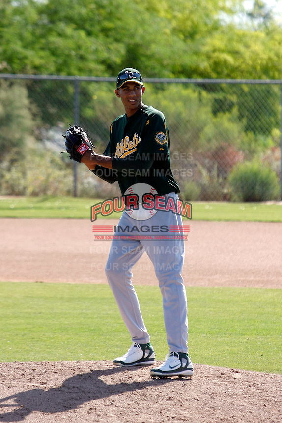 Michael Ynoa -  Oakland Athletics - 2009 extended spring training. Ynoa is working out with other Athletics prospects at the training facility in Phoenix, AZ..Photo by:  Bill Mitchell/Four Seam Images
