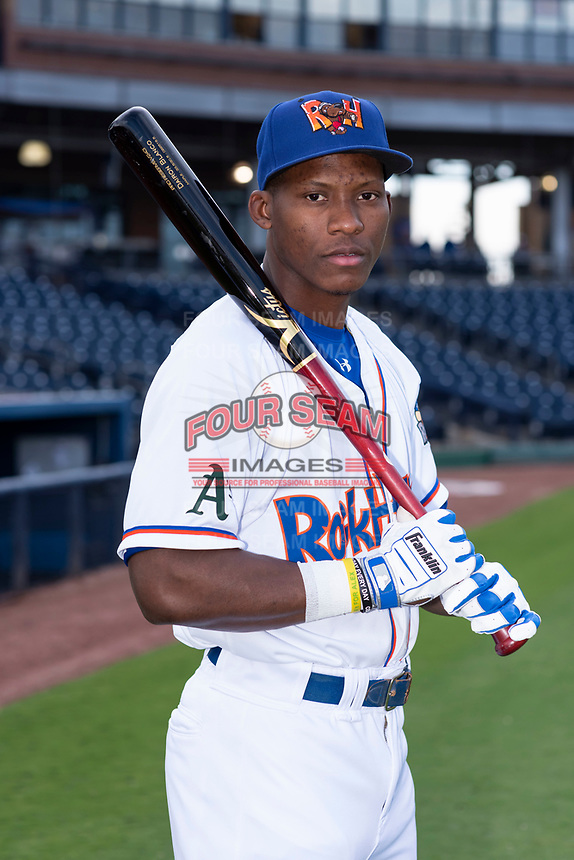Midland RockHounds outfielder Dairon Blanco (15) poses for a photo before a Texas League game against the Tulsa Drillers at Security Bank Ballpark on April 24, 2019 in Midland, Texas. (Zachary Lucy/Four Seam Images)
