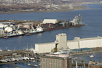 The Bunge grain Silo, the industrial port, and the Bassin Louise in Quebec City, Canada