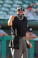 Home plate umpire Mark Lollo during an Arizona Fall League game between the Mesa Solar Sox and Phoenix Desert Dogs at HoHoKam Park on November 3, 2011 in Mesa, Arizona.  Mesa defeated Phoenix 8-7.  (Mike Janes/Four Seam Images)